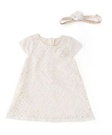 Fisher Price Apparel Short Sleeves Dress With Hair Band - White