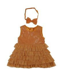 Fisher Price Apparel Party Dress With Headband - Brown