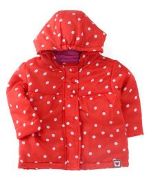 Ladybird Full Sleeves Hooded Jacket Polka Dot Print - Red