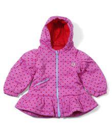 Ladybird Full Sleeves Hooded Jacket Allover Heart Design - Pink