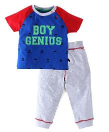 Ladybird Raglan Sleeves T-Shirt And Track Pants Genius Print - Red Blue Grey