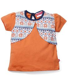 Fisher Price Apparel Half Sleeves Top With Attached Shrug - Orange