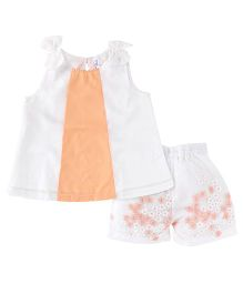 Lil' Posh Party Wear Sleeveless Top And Shorts Bow Applique - White Peach