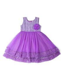 Lil'Posh Sleeveless Party Dress Flower Applique - Purple