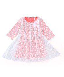 Lil'l Posh Full Sleeves Dress With Lining - Pink