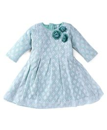 Lil'l Posh Full Sleeves Party Dress Floral Applique - Sea Green