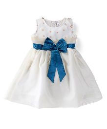 Lil Posh Sleeveless Frock With Bow - White Blue