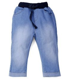 Ladybird Elasticated Jeans With Drawstring - Light Blue