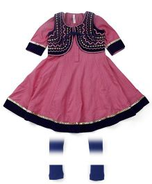 Lil' Posh Full Sleeves Kurti And Churidar With Jacket - Pink Blue