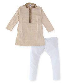 Lil' Posh Full Sleeves Kurta And Pajama - Cream White