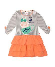 FS Mini Klub Full Sleeves Dress Print & Embroidery - Grey & Orange