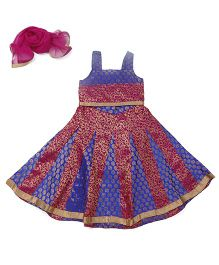 Lil' Posh Sleeveless Choli And Lehenga With Dupatta - Blue Pink