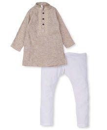 Lil' Posh Kurta Pyjama Set - Beige White