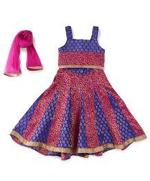 Lil' Posh Sleeveless Choli And Lehenga With Dupatta - Blue Pink