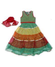 Lil' Posh Sleeveless Choli And Lehenga With Dupatta - Multicolour