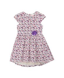 FS Mini Klub Short Sleeves Dress Allover Heart Print - White & Maroon