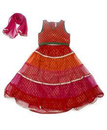 Lil' Posh Sleeveless Choli And Lehenga With Dupatta - Red