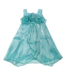 Lil' Posh Sleeveless Party Wear Frock With Floral Applique - Sea Green