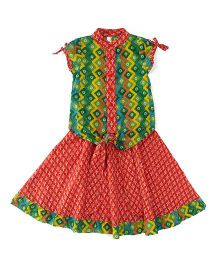 Lil'l Posh Short Sleeves Top With Skirt - Multicolor