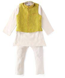 Lil'Posh Full Sleeves Kurta And Pajama With Jacket - Yellow Beige