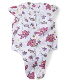 Babyoye Short Sleeves Top Floral Print - Pink And white