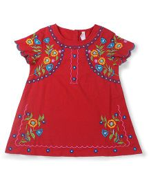 Oye Short Sleeves Embroidered Top - Red