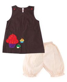 Oye Sleeveless Top With Bloomer - Brown