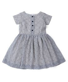 Oye Short Sleeves Dotted Frock - White