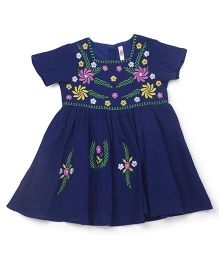 Oye Half Sleeves Dress With Embroidery - Blue