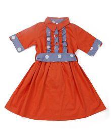 Oye Half Sleeves Frock With Belt - Orange