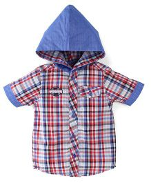 Oye Half Sleeves Hooded Check Shirt - Red Blue