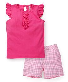 Oye Shorts Sleeves Top And Shorts Set - Pink