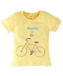 Oye Half Sleeves Top Bicycle Print - Yellow