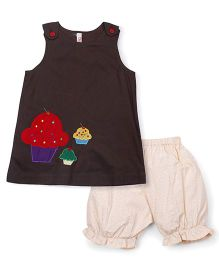 Oye Sleeveless Frock With Bloomer Cup Cake Embroidery - Brown Pink