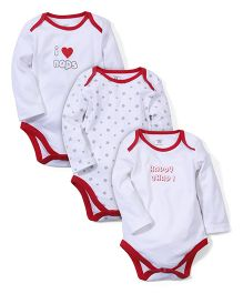M&M Full Sleeves Onesies Set of 3 - White