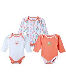 M&M Full Sleeves Onesies Set of 3 - White Pink Coral