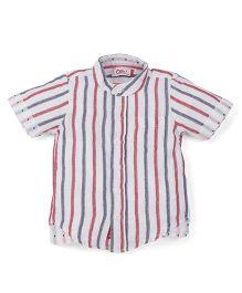 Oye Half Sleeves Stripe Shirt - White