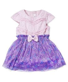 M&M Party Wear Dress Bow Applique - Pink And Purple