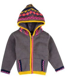 M&M Infant Full Sleeve Embroidered Sweater With Hood - Light Brown