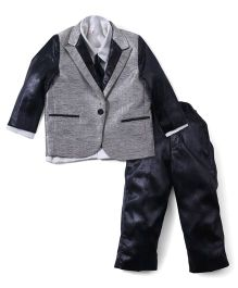 M&M Party Wear Set With Ties - Black White And Grey