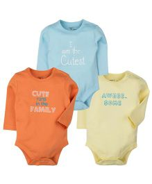 M&M Infant Onesies Blue Orange Yellow - Pack Of 3