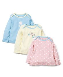 M&M Full Sleeves Infant Tops Pack Of 3 - Pink Light Yellow Blue
