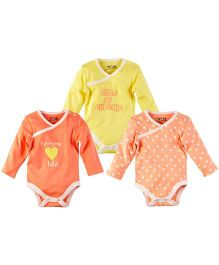 M&M Bodysuit Pack Of 3 - Yellow And Coral