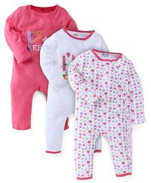 M&M Full Sleeves Romper Set of 3 - White And Pink