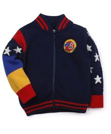 M&M Full Sleeves Sweater Heart Design & Patch Detail - Navy Blue