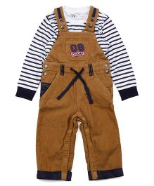M&M Dungaree Style Romper With Inner Tee - Brown