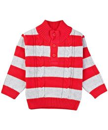 M&M Infant Sweater With Stripes - Red