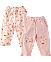 M&M Solid And Printed Leggings Pack Of 2  - Pink