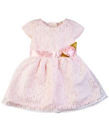 M&M Party Wear Dress Floral Applique - Pink