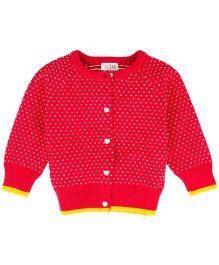 Babyoye Raglan Sleeves Sweater With Placket - Red
